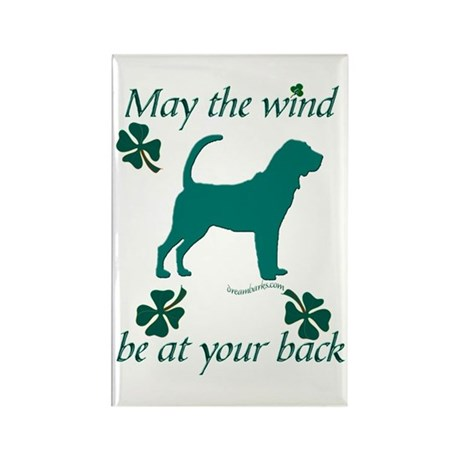Bloodhound and Shamrocks Rectangle Magnet