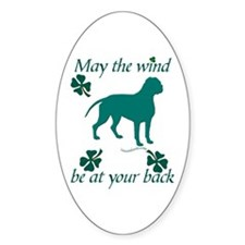 Dogue de Bordeaux and Shamrocks Oval Decal