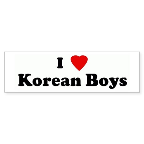 I Love Korean Boys Bumper Sticker