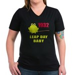 1932 Leap Year Baby Women's V-Neck Dark T-Shirt