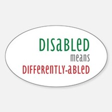 Disabled = Differently-abled Oval Decal