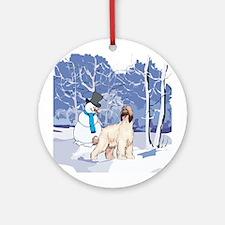 Snowman & Afghan Hound Ornament (Round)
