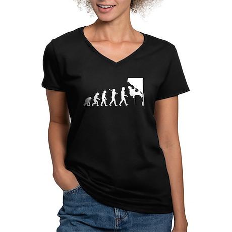 Rock Climbing Women's V-Neck Dark T-Shirt
