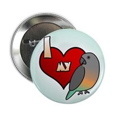 I Love my Red-Bellied Parrot Button (Cartoon)