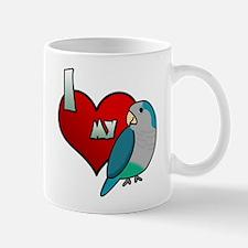 I Love my Blue Quaker Parakeet Mug (Cartoon)
