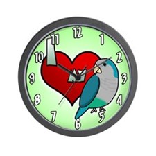 I Love my Blue Quaker Parakeet Clock (Cartoon)