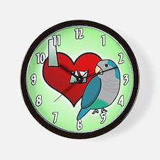 I Love my Blue Quaker Parakeet Clock (Cartoon)