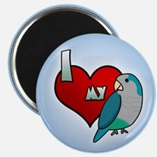 I Love my Blue Quaker Parakeet Magnet (Cartoon)