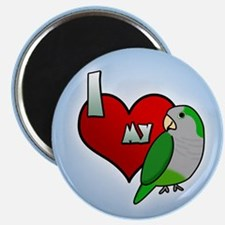 I Love my Quaker Parakeet Magnet (Cartoon)