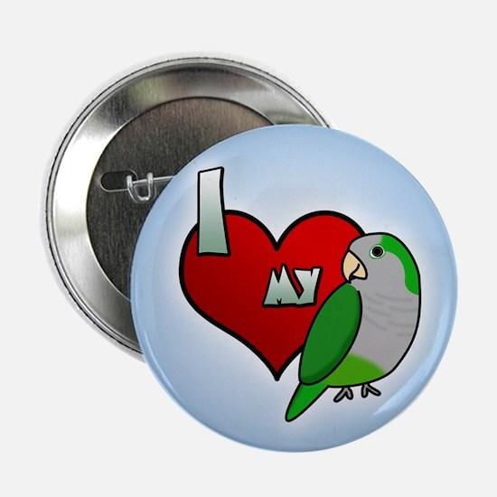 I Love my Quaker Parakeet Button (Cartoon)