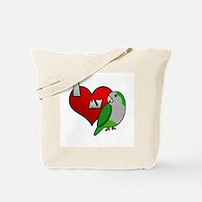 I Love my Quaker Parakeet Tote Bag