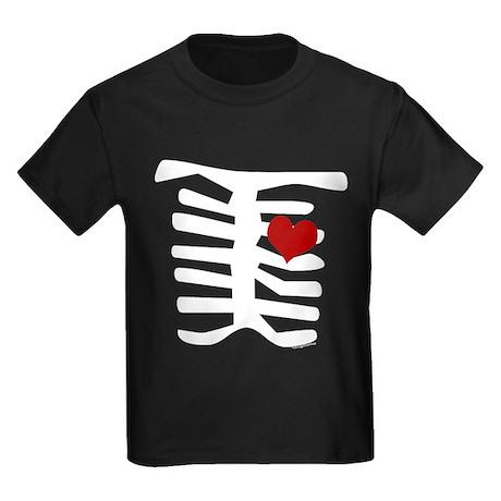 Valentine Skeleton with Heart Kids Dark T-Shirt