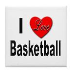 I Love Basketball Tile Coaster