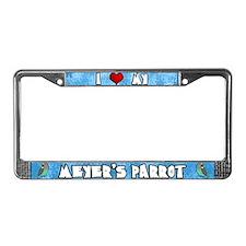 Cartoon I Love Meyer's Parrot License Plate Frame
