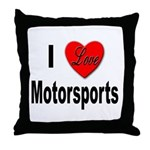 I Love Motorsports Throw Pillow