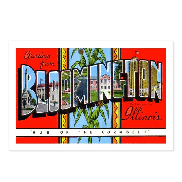 Bloomington Illinois Greetings Postcards Package By W2arts