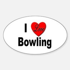 I Love Bowling Oval Decal