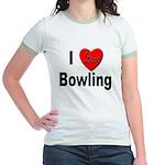 I Love Bowling (Front) Jr. Ringer T-Shirt