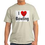 I Love Bowling (Front) Ash Grey T-Shirt