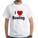 I Love Bowling (Front) White T-Shirt
