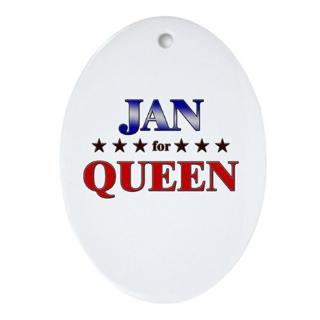 JAN for queen Oval Ornament