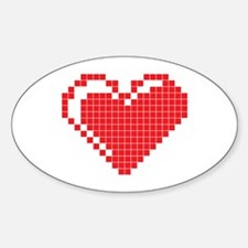 Pixel Heart Oval Decal