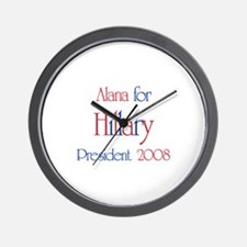 Alana for Hillary 2008 Wall Clock