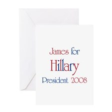 James for Hillary 2008 Greeting Card