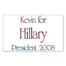 Kevin for Hillary 2008 Rectangle Decal