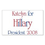 Katelyn for Hillary 2008 Rectangle Sticker