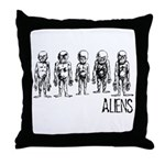 Hand Sketched Aliens Throw Pillow