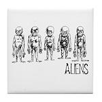 Hand Sketched Aliens Tile Coaster