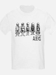 Hand Sketched Aliens Kids T-Shirt