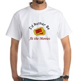I\'d rather be at the movies Mens White T-shirts
