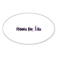 Hippie For Life Oval Decal