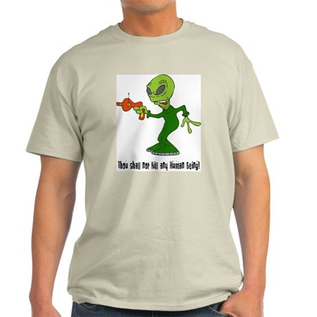 Alien With Ray Gun Ash Grey T-Shirt
