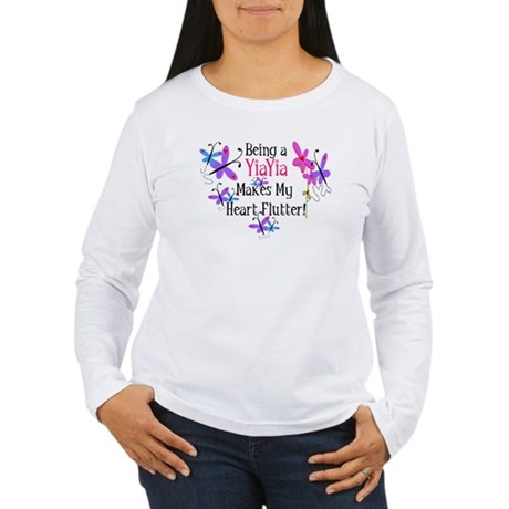 YiaYia Heart Flutter Women's Long Sleeve T-Shirt