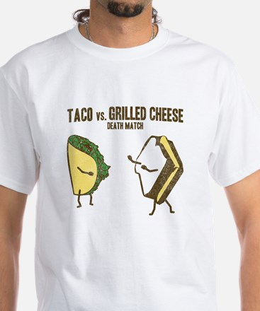 Taco VS Grilled Cheese White T-Shirt