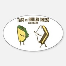 Taco VS Grilled Cheese Oval Decal
