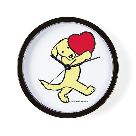 Lab (Yellow) Heart Wall Clock