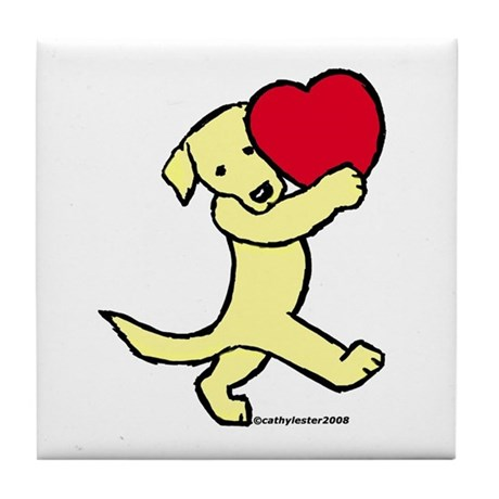Lab (Yellow) Heart Tile Coaster