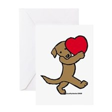 Lab (Chocolate) Heart Greeting Card