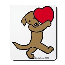 Lab (Chocolate) Heart Mousepad