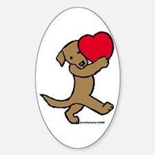 Chocolate Labrador Valentine Oval Decal