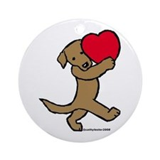 Chocolate Labrador Valentine Ornament (Round)