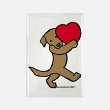 Chocolate Labrador Valentine Rectangle Magnet