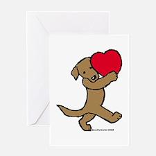 Chocolate Labrador Valentine Greeting Card
