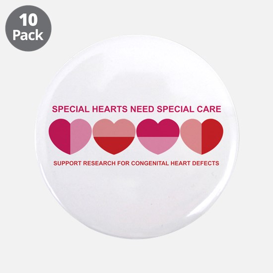 "Special Hearts 3.5"" Button (10 pack)"