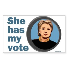 She Has My Vote Bumper Decal