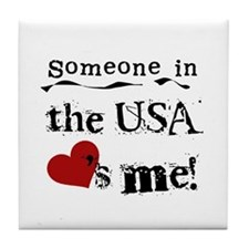 USA Loves Me Tile Coaster